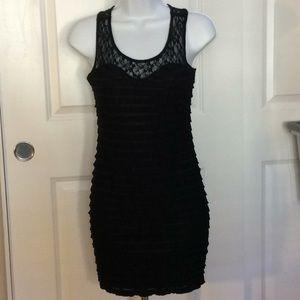 xxi Ribbed/Ruffled and Lace Sleeveless Dress